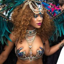 Rihanna show boobs and ass in carnaval bikini at Kadooment Day in Barbados 386x HQ