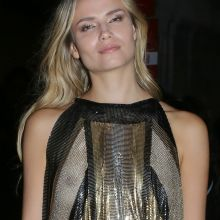 Natasha Poly braless in see through dress on Balmain Aftershow Party in Paris UHQ photos