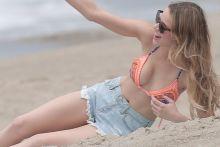 Halston Sage bikini cleavage on the set of You Get Me in San Pedro 61x HQ photos