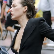 Milla Jovovich nip slip braless on photo shoot for for Vogue magazine 5x UHQ photos