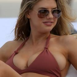 Charlotte McKinney big boobs trying to pop out from bikini candids on the beach in Miami 176x HQ photos