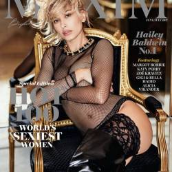Hailey Baldwin sexy cleavage in see through lingerie for Maxim magazine June-July 2017 4x MixQ photos