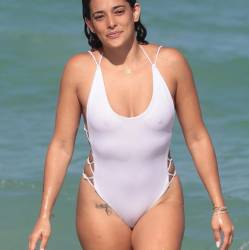 Natalie Martinez pokies cameltoe in wet white swimsuit on the beach in Miami 27x HQ photos