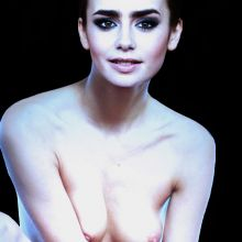 Lily Collins nude Glamour magazine cover photo shoot UHQ