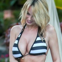 Rhian Sugden in a sexy striped bikini in Tenerife 2016 March 7x HQ photos