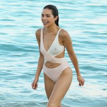 Olivia Culpo pokies in wet see through swimsuit on the beach in Cabo 6x HQ photos