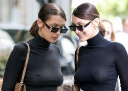Bella Hadid braless pokies in see through top out for Lunch in Paris 52x HQ photos