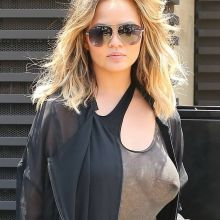 Chrissy Teigen braless see through top pokies at Nobu in Malibu 10x HQ photos