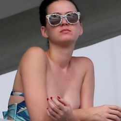 Katy Perry wearing a bikini top on the hotel balcony in Miami 11x HQ