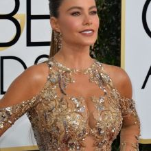 Sofia Vergara big boobs in see through dress on 74th Annual Golden Globe Awards 28x HQ photos