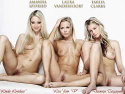 Amanda Seyfried, Laura Vandervoort, Emilia Clarke naked spread legs nude photo shoot UHQ