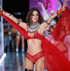 Alessandra Ambrosio sexy see through lingerie cameltoe 2017 Victoria's Secret Fashion Show 40x MixQ photos