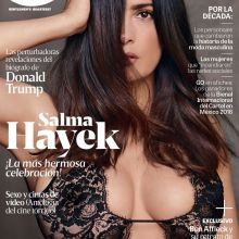 Salma Hayek in see through bra on GQ Mexico November 2016 cover UHQ