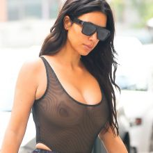 Kim Kardashian braless in see through bodysuit spotted out and about in NYC 8x HQ photos