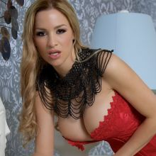 Jordan Carver hot big boobs in red corset Moulin Rouge photoshoot 30x HQ