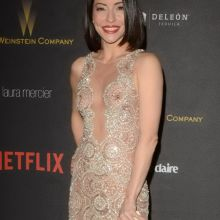 Emmanuelle Vaugier braless in see through dress on Weinstein Company & Netflix Golden Globe After Party 5x HQ photos