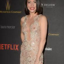 Emmanuelle Vaugier braless in see through dress on Weinstein Company & Netflix Golden Globe After Party 5x HQ photos