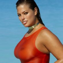 Ashley Graham nude naked topless bodypaint see through Sports Illustrated sexy Swimsuit 2016 photo shoot 32x HQ