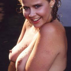 Linda Blair young wet and topless 1982 photo shoot 2x UHQ