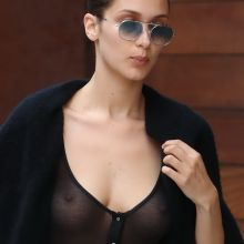 Bella Hadid pokies braless in see through top leaving Gigi's place in NYC 9x UHQ photos