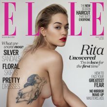 Rita Ora topless Elle UK magazine photo shoot 2014 May 7x UHQ
