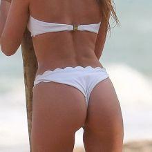 Elsa Hosk pole dancing in white bikini at the beach in Brazil 2016 January 107x HQ photos