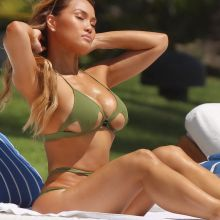 Daphne Joy show big boobs in a green bikini poolside on holiday in Punta Mita 23x UHQ photos