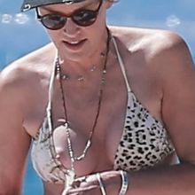 Sharon Stone boobs pop out of bikini nip slip on the beach in Venice 47x HQ photos
