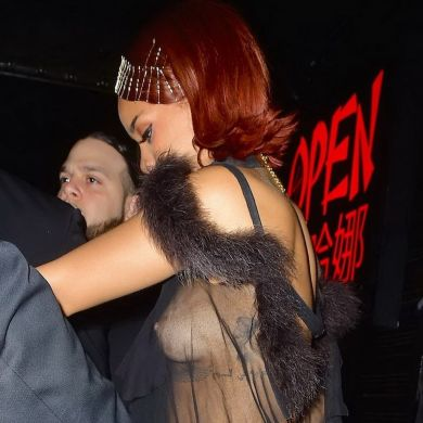 Rihanna braless flashes nipples in sheer top as she hosts Met Gala after party 5x HQ