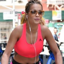 Rita Ora in sport bra riding a city bike around New York 60x UHQ photos