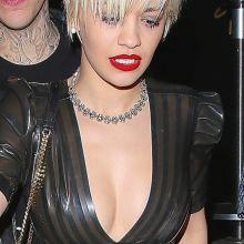 Rita Ora see through dress without bra pokies nipple visible 64x UHQ